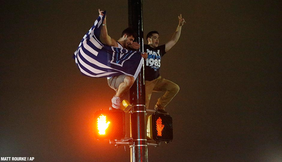 Villanova basketball fans celebrate in Villanova after the Wildcats defeated North Carolina.
