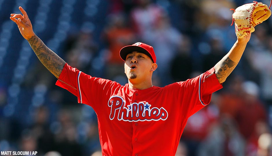 Vince Velasquez reacts after striking out Wil Myers to end the Phillies 3-0 victory over the Padres on Thursday, April 14, 2016, in Philadelphia.