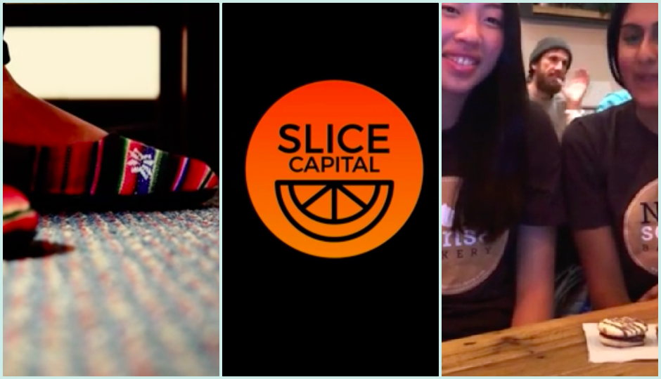 Screenshots from the videos for PATOS Shoes, Slice Capital, and NOMsense Bakery.