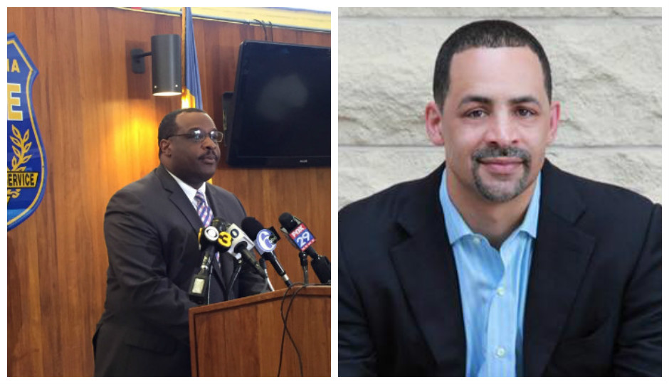 Homicide Captain James Clark (left) discuss a murder witnessed by political candidate Chris Rabb (right).