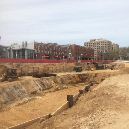 The excavation of the library's below-ground space.