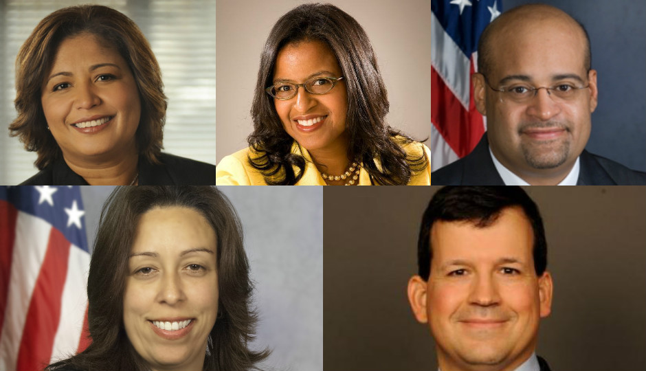 Clockwise: Councilwoman Maria Quiñones-Sánchez, School Reform Commissioner Farah Jimenez, state Rep. Angel Cruz, state Rep. Leslie Acosta and Daniel Restrepo, former special assistant to President Barack Obama.