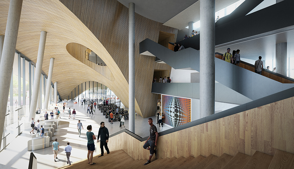 A rendering of the central lobby and atrium in Temple's new state-of-the-art library, designed by Snøhetta and scheduled for completion in 2018. | Photo credit: Snøhetta
