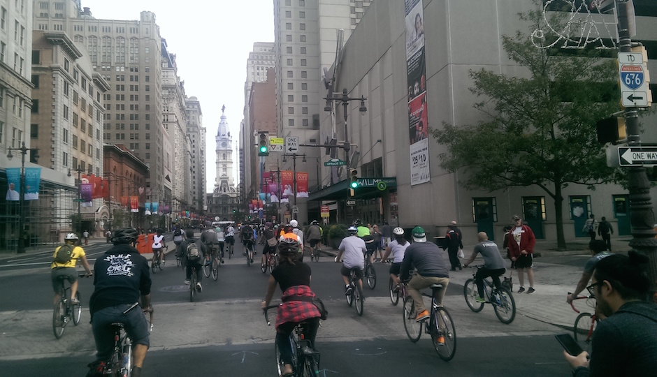 """Cyclists take to the streets during the """"Pope Ride"""" Saturday. 