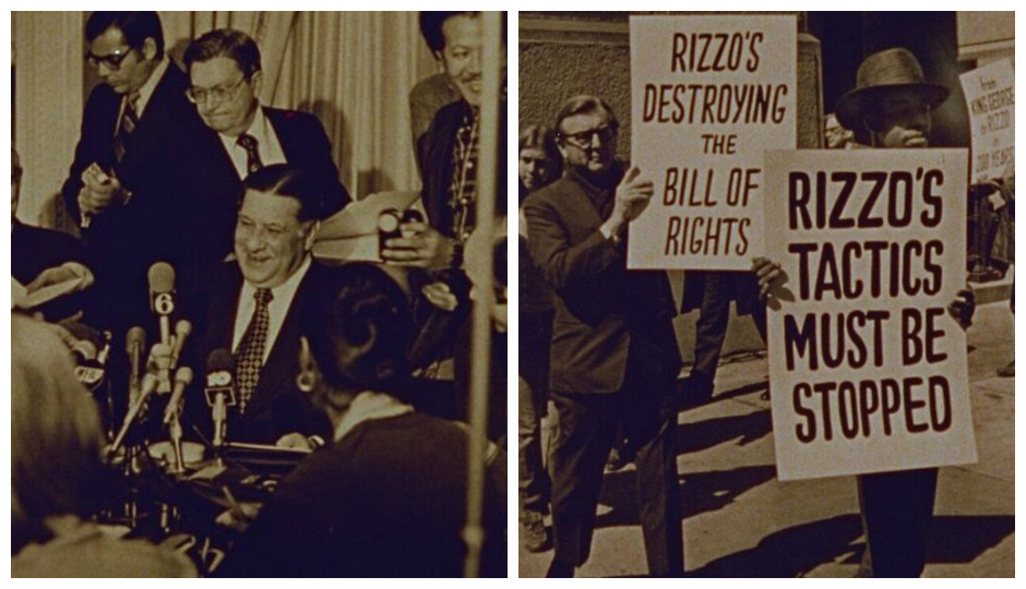 """Still images from the 1978 movie """"Amateur Night at City Hall: The Frank L. Rizzo Story."""""""