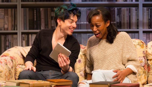 Kyle Coffman and Joanna Rhinehart in Sex with Strangers at PTC. (Photo by T. Charles Erikson)