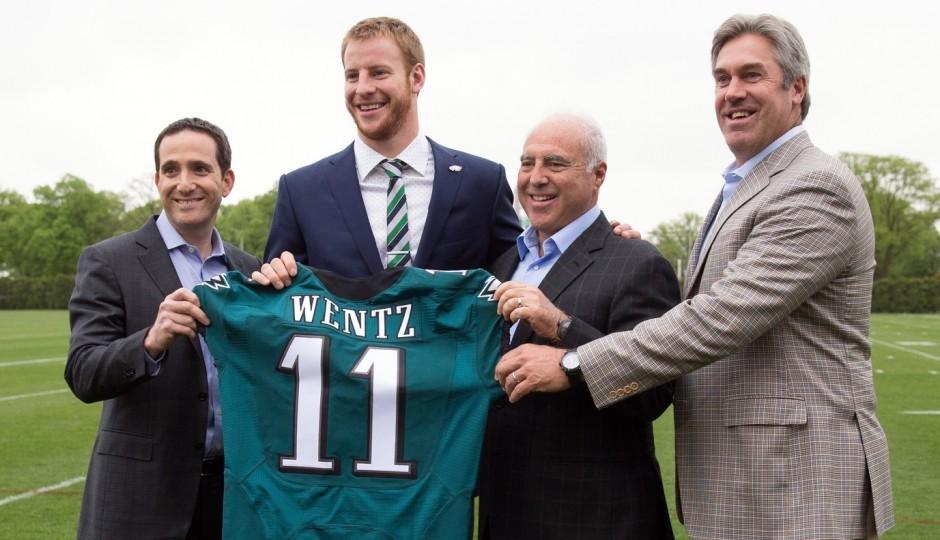 Howie Roseman, Carson Wentz, Jeffrey Lurie and Doug Pederson. (USA Today Sports)