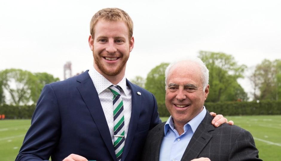 Carson Wentz and Jeffrey Lurie. (USA Today Sports)