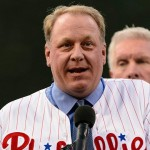 Curt Schilling during his Wall of Fame induction at Citizens Bank Park on August 2, 2013.
