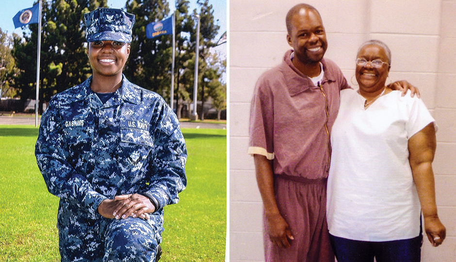 From left, Onia Gaskins in her Navy uniform; LaFaye with his mother, Myra Gaskins. | Photographs courtesy of LaFaye Gaskins
