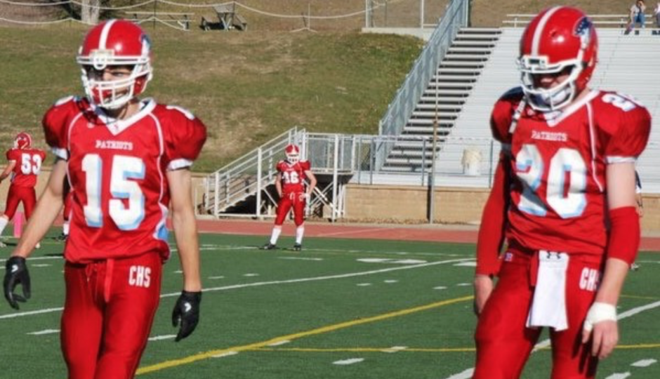 Kameron Wingenbach (left) and Carson Wentz playing for Century High School in the MDU Resources Community Bowl. (Photo courtesy of Wingenbach)