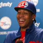 Allen Iverson laughs while talking to the media about his election into the Basketball Hall of Fame | Bill Streicher-USA TODAY Sports