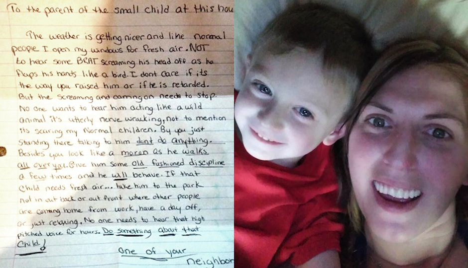 Left: The anonymous note. Right: Mayfair's Bonnie Moran with son Ryan, who has apparently been upsetting one of the neighbors.