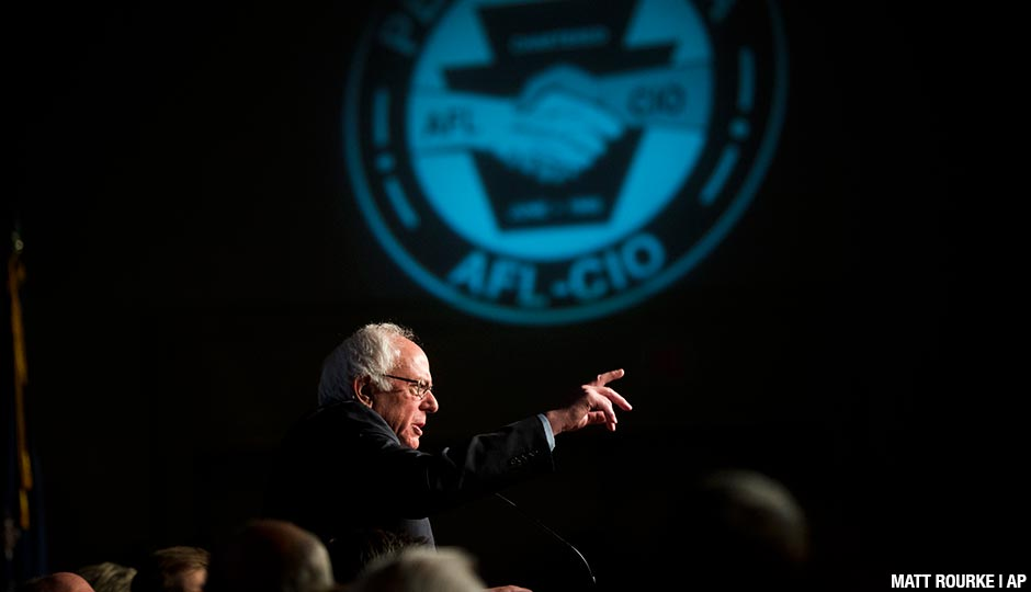 Democratic presidential candidate, Sen. Bernie Sanders, I-Vt., speaks during a campaign stop, Thursday, April 7, 2016, at the Pennsylvania AFL-CIO Convention in Philadelphia.