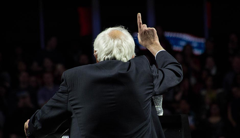 Bernie Sanders at the podium at Temple University's Liacouras Center. Photo | Kyle Laskowski