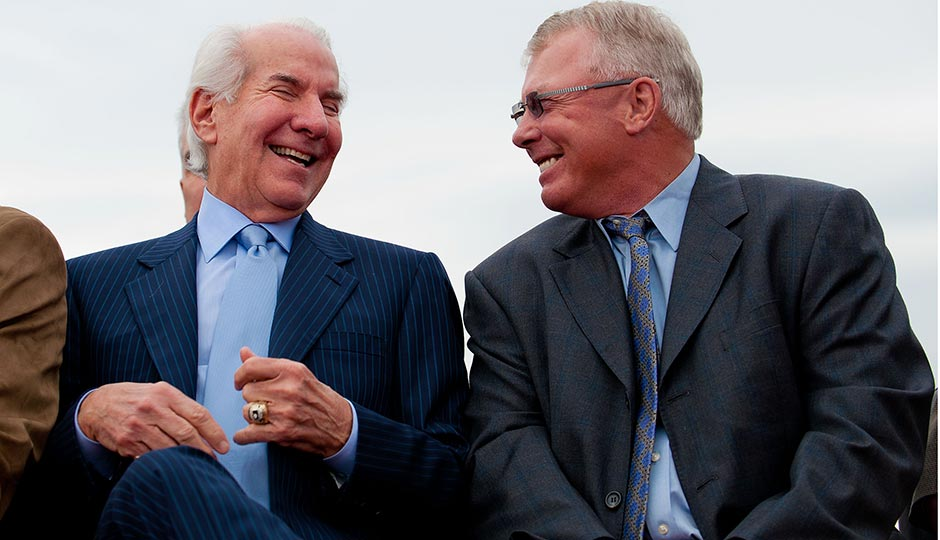 Ed Snider (left) and Bobby Clarke at the 2010 demolition of The Spectrum. Photo | Jeff Fusco