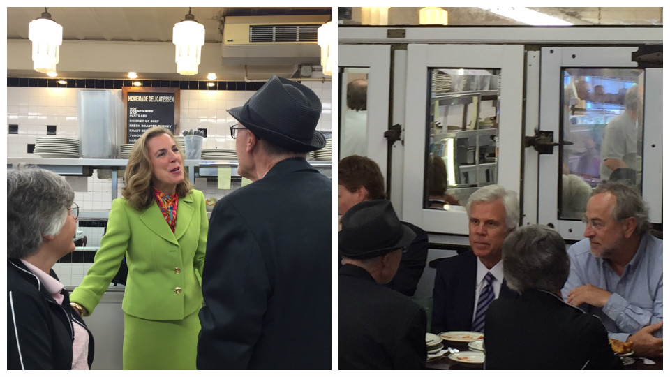 Senatorial candidate Katie McGinty (left), South Jersey Democratic Party power broker George Norcross (middle, right) were among those in the crowd at the Famous 4th Street Deli.