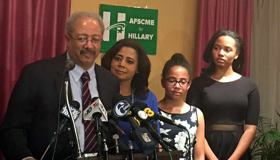 Chaka Fattah on election night, flanked by his wife, former NBC 10 anchor Renee Chenault-Fattah, and