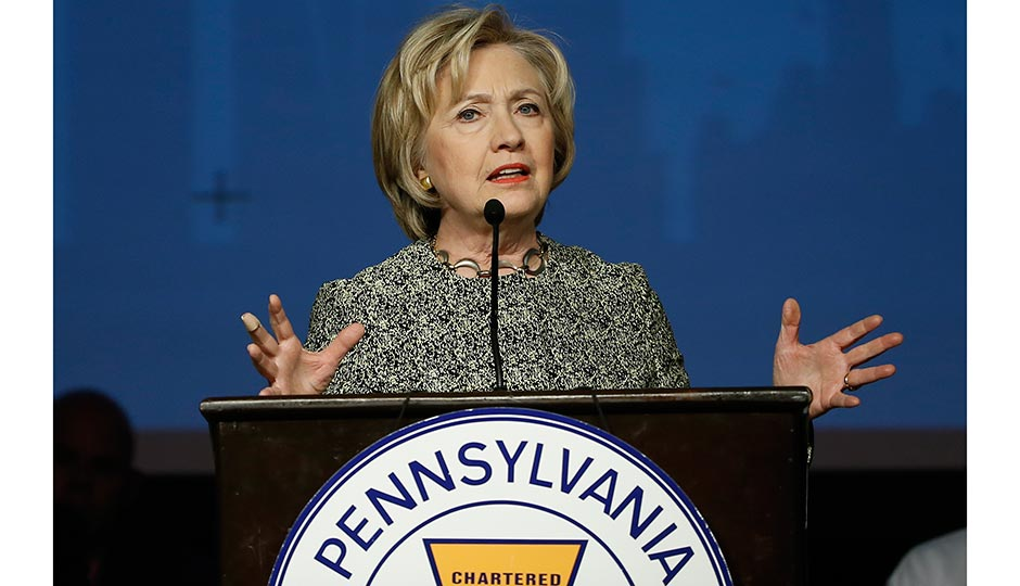 Hillary Clinton speaks earlier this year at the Pennsylvania AFL-CIO Convention in Philadelphia. Photo | Matt Rourke, AP