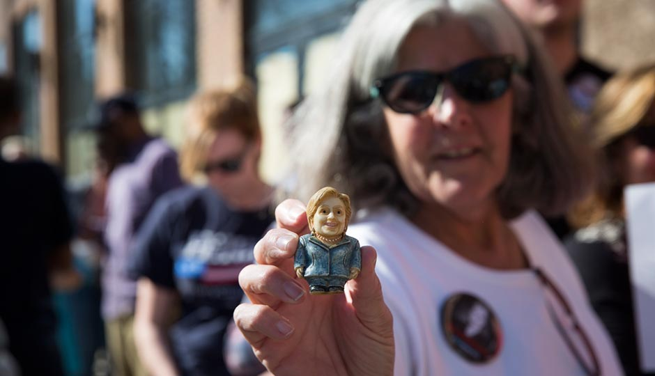 A Hillary Clinton supporter waits outside her April 20th rally at the Fillmore. Photo   Ryan Collerd