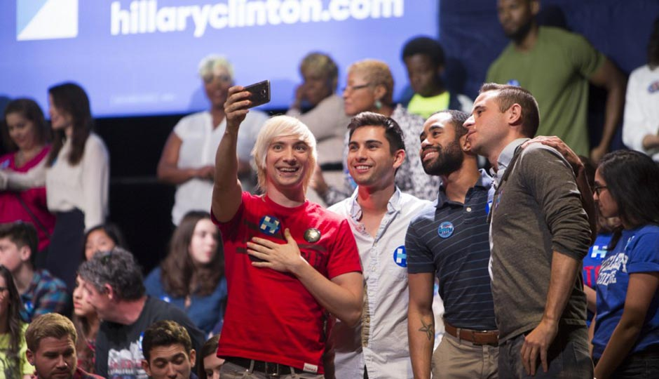 Millennial Hillary Clinton supporters pose for a selfie, naturally, at Clinton's April 20th Fillmore Rally. Photo   Ryan Collerd