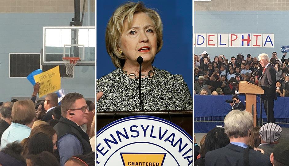 Hillary Clinton (center, Matt Rourke, AP). Protesters (left) and Bill Clinton (right, photos Dan McQuade).