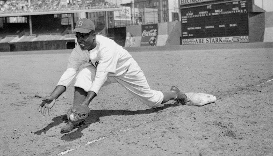 Jackie Robinson, Brooklyn Dodgers' first baseman, is shown at Ebbets Field, April 11, 1947. (AP Photo)