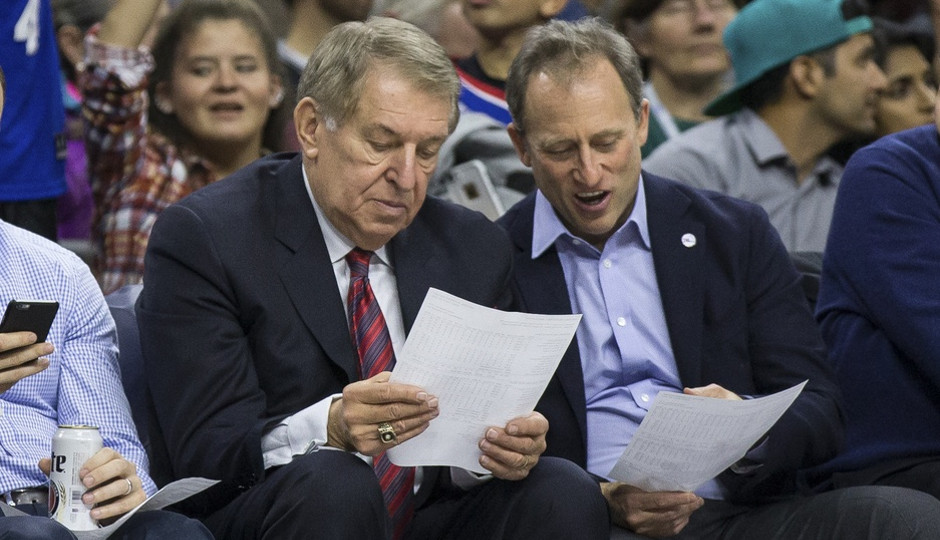 Sixers' owner Joshua Harris introduced Bryan Colangelo as the team's new president of basketball operations | Bill Streicher-USA TODAY Sports