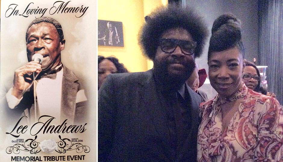 "Lee Andrews (left); his children Ahmir ""Questlove"" Thompson and Donn T (right). Photos 