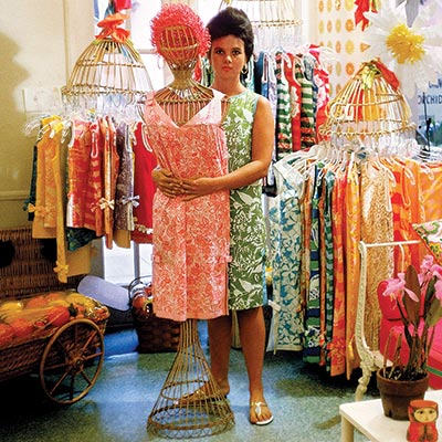 "Pulitzer in her flagship shop circa 1962. Photograph from ""Essentially Lilly: A Guide to Colorful Entertaining"""