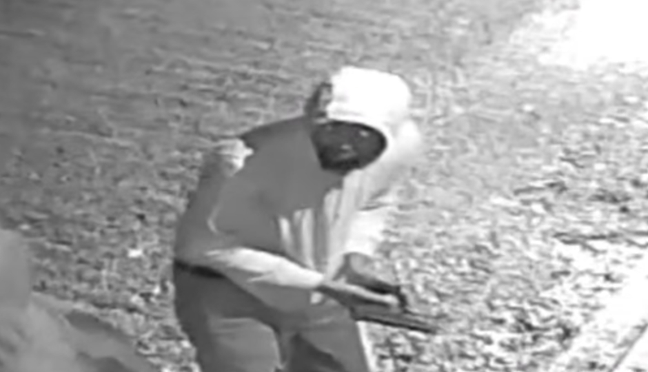 Surveillance image of one suspect in an armed robbery in Old City. (Photo via Philadelphia Police Department video screenshot.)