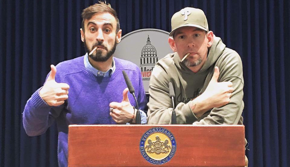 """Philadelphia marijuana activist """"N.A. Poe"""" (left) with former Marine war veteran and fellow activist Mike Whiter (right) in the Capitol in Harrisburg."""