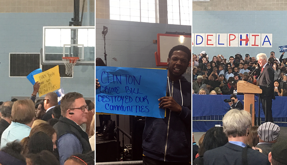 Erica Mines, Rufus Farmer, Bill Clinton - protest sign