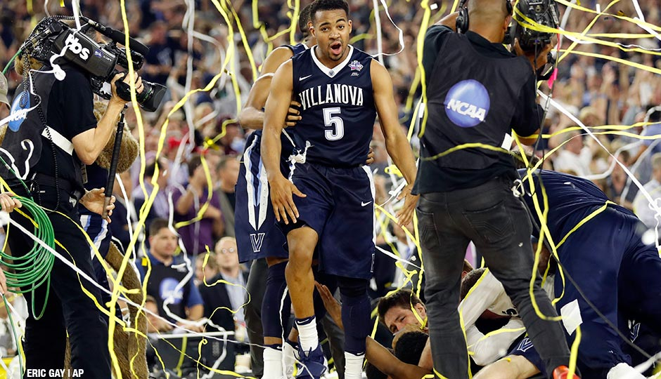 Villanova's Phil Booth celebrates after the NCAA Final Four tournament college basketball championship game against North Carolina, Monday, April 4, 2016, in Houston. Villanova won 77-74.