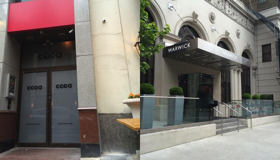 Left: Walnut Street's Coda nightclub. Right: The Warwick Hotel in Rittenhouse Square. (Photos by Erika Lewy)