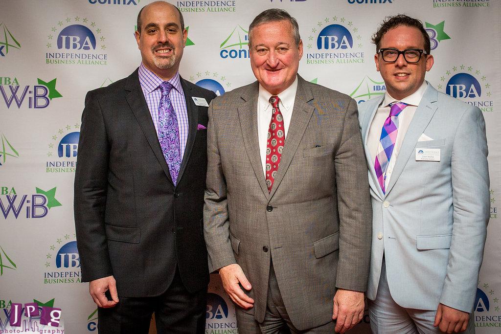 (L-R) IBA Board President Rich Horrow, Mayor Jim Kenney, IBA Executive Director Zach Wilcha. JPG Photography