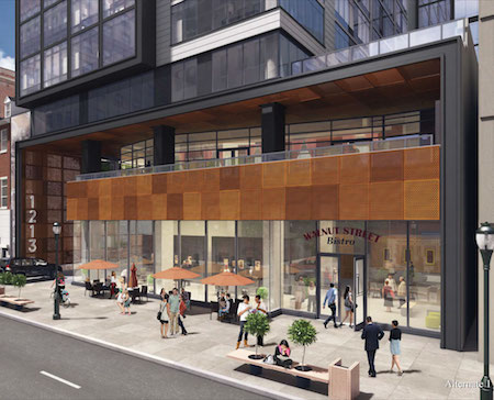 The Walnut Street side of the building. | Rendering: Design Collective
