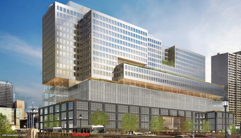 The latest version of 2400 Market Street. | Rendering: Varenhorst/Gensler via Philadelphia City Planning Commission