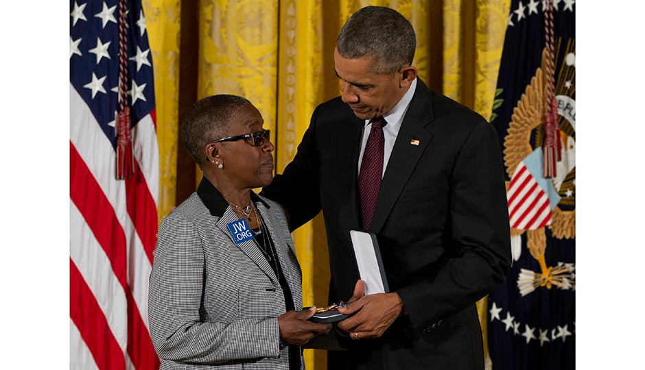 President Barack Obama presents Constance Wilson, grandmother of fallen Philadelphia Police Department Sgt, Robert Wilson III with his Medal of Valor during a ceremony in the East Room of the White House in Washington, Monday, May 16, 2016. Photo | Carolyn Kaster, AP