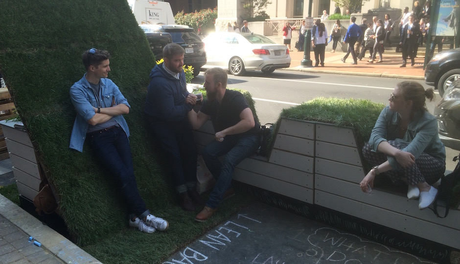 """Lean back,"" the chalk instruction advised visitors to At Media's Jury Award-winning parklet. And they did. 