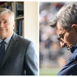 Penn State president Eric Barron (Michelle Bixby, Penn State) and Joe Paterno (Richard Paul Kane, Shutterstock)
