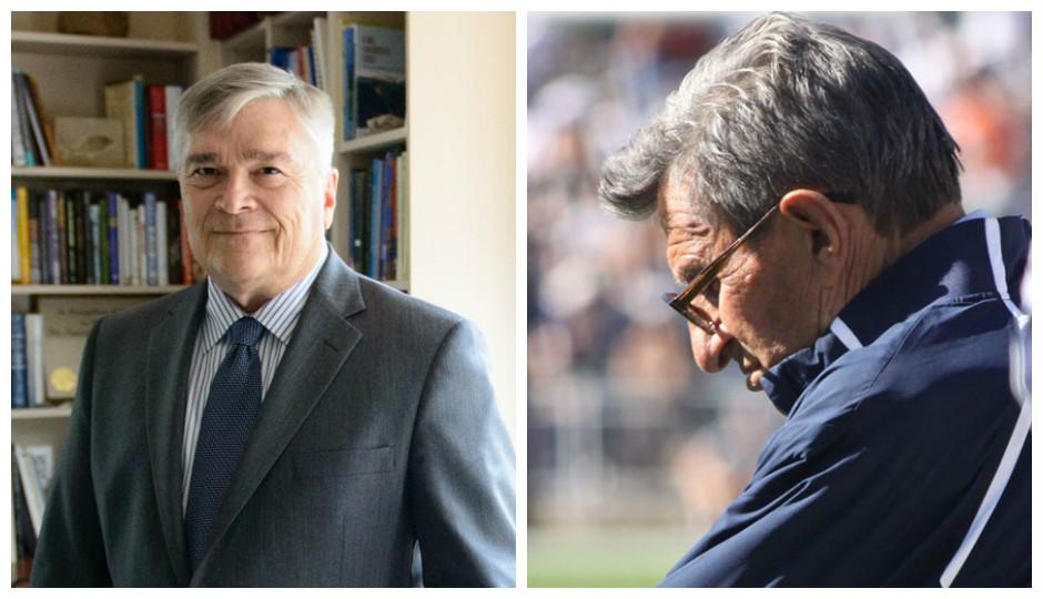 Penn State president Eric Barron (Michelle Bixby, Penn State) and Joe Paterno (Richard Paul Kane, Shutterstock)