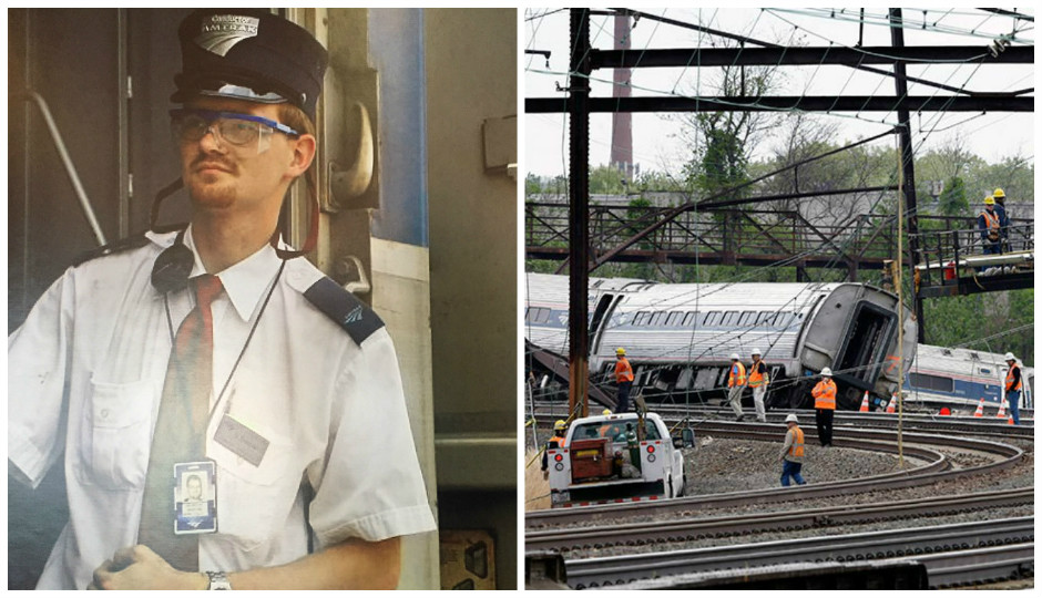 Left: Brandon Bostian (Courtesy of Robert Mongeluzzi); Right: The aftermath of the Amtrak Train 188 derailment (AP/Mel Evans)