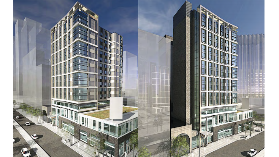 Two perspective views of the Cambria Hotel, to be built at Broad and Locust streets. Renderings | DAS Architects