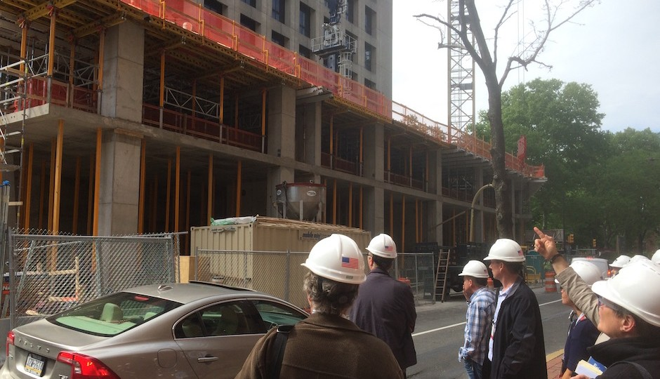 Architects attending last weekend's AIA convention get a hard hat tour at one remove of the 500 Walnut construction site. | Photos: Sandy Smith