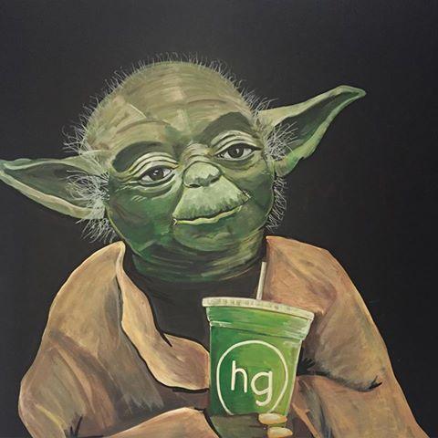 Yoda gets his healthy green grow via Honeygrow juices.