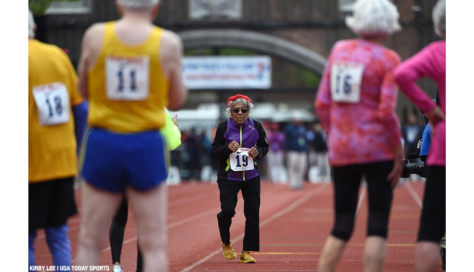 Ida Keeling (age 100) runs in the mixed masters age 80 and over 100m during the 122nd Penn Relays at Franklin Field on April 30, 2016.