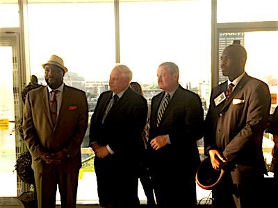 Left to right: Councilman Kenyatta Johnson, Councilman Al Taubenberger, Mayor Jim Kenney, Councilman Derek Green