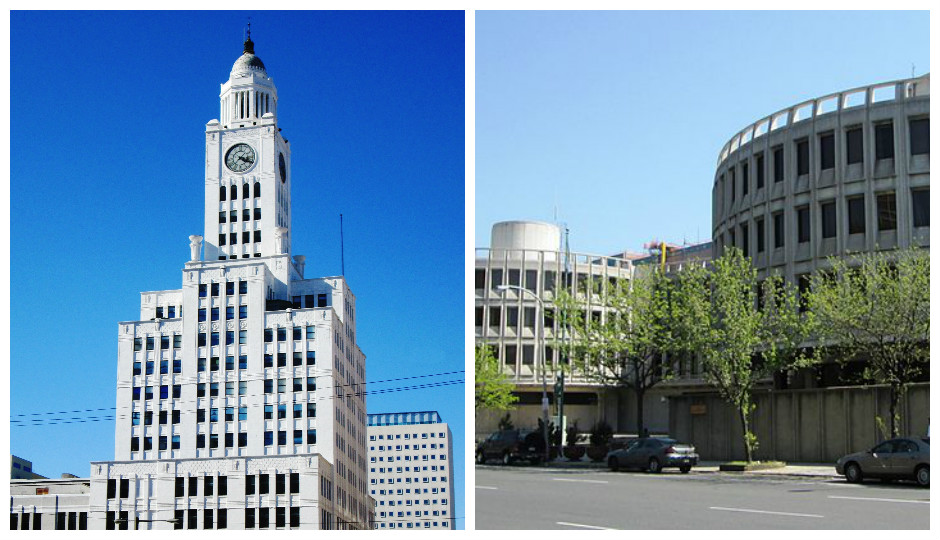 Left: 400 N. Broad Street Right: Police Administration Building (Wikimedia Commons)