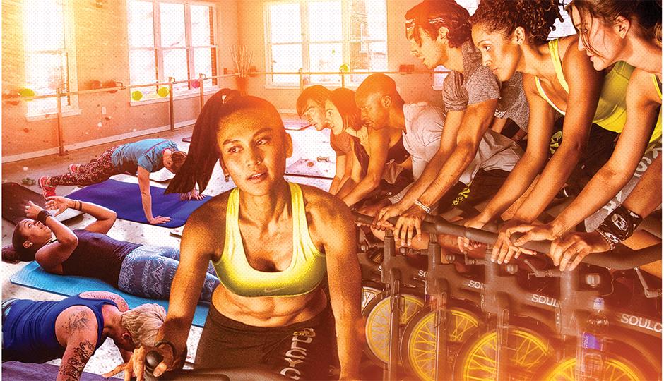 Philadelphia Fitness Studis illustration by Gluekit; cycling photo courtesy of Soulcycle; city fitness photo courtesy of Palette Group